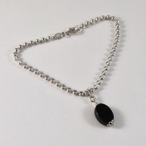 925 Silver Bracelet with Faceted Balls and Onyx Oval 19 cm image 1