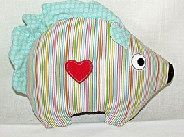 Childrens Small Porcupine Hedgehog Shaped Striped Pillow Embroidered Hea... - $13.98