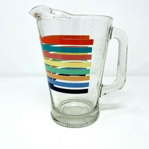 Vtg MCM Rainbow Striped Clear Glass Pitcher 2 Quarts Ice Lip Made in USA... - $27.69