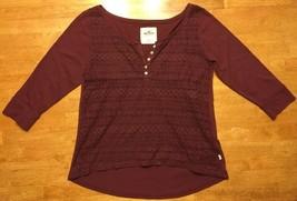 Hollister Women's Maroon 3/4 Sleeve Sheer Pattern Front Blouse - Size: XS - $14.84