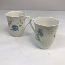 "Lenox Butterfly Meadow Monarch & Fritillary 2 Pc Set Cup or Mug 4.25"" Ta... - $12.38"
