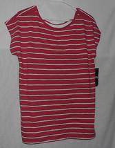 Women's CHAPS Striped Dolman Short Sleeve Bar Back Tee Top Size M Medium New - $10.68