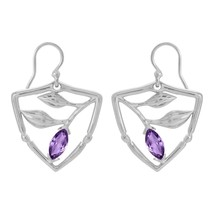 925 Silver Trio Leaf Open Free Art Shape Hollow Marquise Purple Amethyst... - $21.51