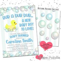 Rubber Duck Bubbles BLUE Baby Shower Invitation PRINTABLE Personalized - £9.07 GBP