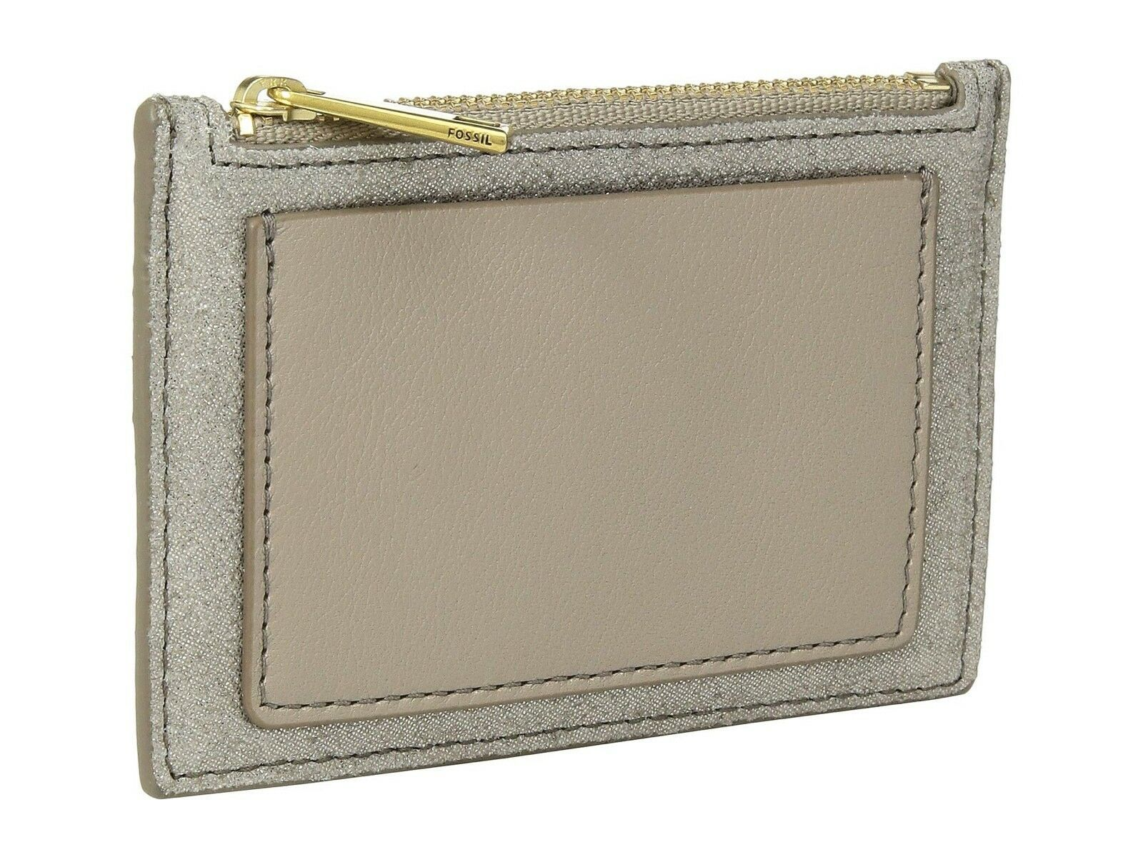 New Women's Fossil Shelby Champagne Zip Coin Card Pocket Wallet Metallic Leather