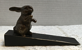 Vintage Inspired BRASS RABBIT Wedge Wood Door Stop Farmhouse Country Decor  - $7.00