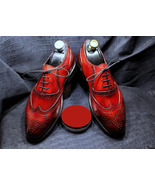 Handmade Men's Color Red Wing Tip Shoes, Dress Shoes Leather Lace Up Men... - $159.97+