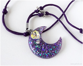 Glitter Moon Necklace with Swarovski Crystals, Purple, Pastel Goth - $20.00