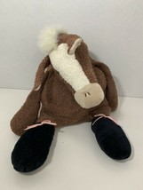 Manhattan Toys plush tip toes tippytoes ballet horse brown terrycloth black shoe - $148.49