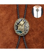 Western Cowboy Bolo Tie Clip Howling Wolf Pu Leather Rope Multicolor - $39.99