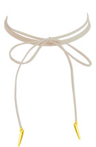 Lolusodesigns Long Thin Cream Suede Lace Boho Wrap Bow Tie Gold Spike Choker - $3.87