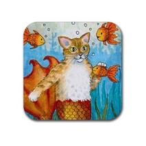 Rubber coasters set of 4, Cat Mermaid 27 fish fantasy art by L.Dumas - $10.99