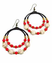 Red Hook Dangle Earrings Stone& Beads& Rope& Brass - $5.94
