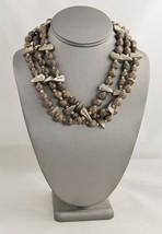 VINTAGE TRIBAL Jewelry HAND MADE TRIPLE STRAND WOOD BEAD & SILVER METAL ... - $25.00