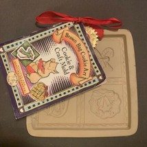 "Brown Bag Cookie Art Mold Christmas Cut Apart 1997 5 1/2"" Square Pottery - $13.86"