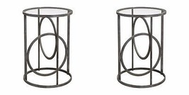 PAIR RESTORATION FORGED METAL ACCENT END TABLE GLASS TOP INDUSTRIAL IRON... - $497.20