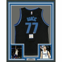FRAMED Autographed/Signed LUKA DONCIC 33x42 Dallas Black Jersey Beckett ... - $599.99