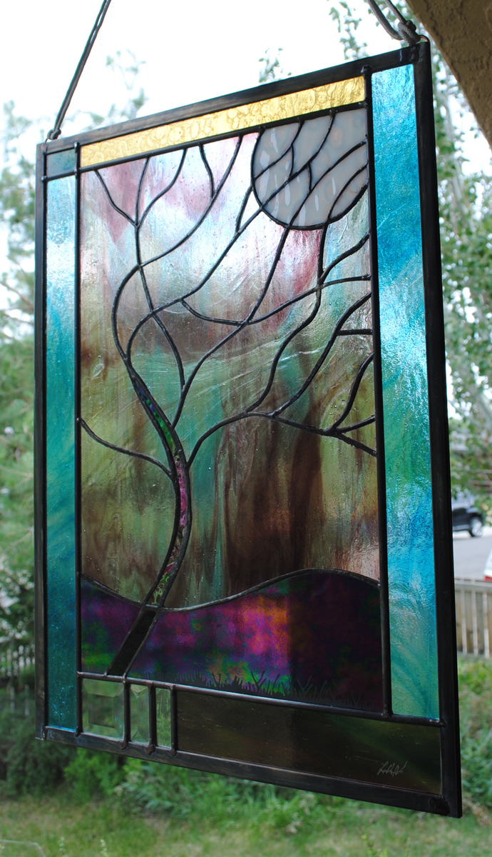 Stained Glass Window Customizable Stormy Tree