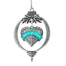 Inspired Silver Teal Matron Pave Heart Holiday Decoration Christmas Tree Ornamen - $14.69