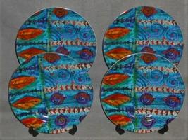 1997 Set (4) Sakura Stoneware GEMSTONE PATTERN Salad Plates - $23.75