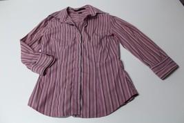 W11547 Womens Express Black White Pink Pinstripe Long Sleeve Button Down Shirt - $11.65