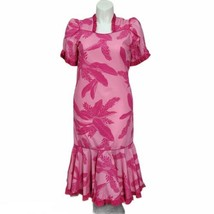 Vintage Hilo Hattie Size 12 Pink Floral Hawaiian Aloha Muumuu Wiggle Dre... - $46.74
