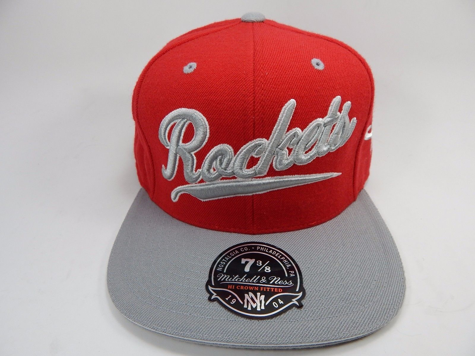 Houston Rockets Mitchell & Ness Size 7 3/8 Crown Fitted NBA Cap Hat Gray Red