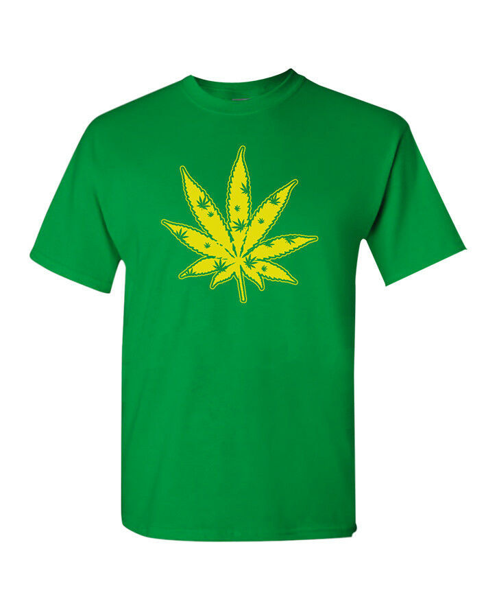 Marijuana Leaf T-Shirt Pot Stoner Blaze THC Weed Cannabis Kush Mary Jane Men Tee