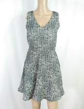 JOIE Tweed Fit & Flare Dress XS Black White Abstract Textured Flounce V-... - $37.40