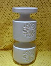 Mid Century Retro Large White Ceramic  Pillar Candle Holder - $12.00