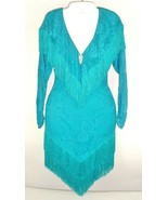 Vtg David Howard Climax Karen Okada Decco Flapper Fringe Dress Teal 5/6 ... - $79.15