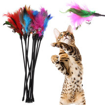 5Pcs Cat Toys Soft Colorful Cat Feather Bell Rod Toy for Cat Kitten Funn... - $4.77