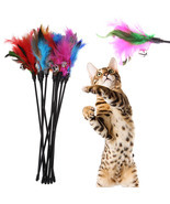 5Pcs Cat Toys Soft Colorful Cat Feather Bell Rod Toy for Cat Kitten Funn... - $6.32 CAD