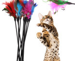 Ys soft colorful cat feather bell rod toy for cat kitten funny playing interactive thumb155 crop