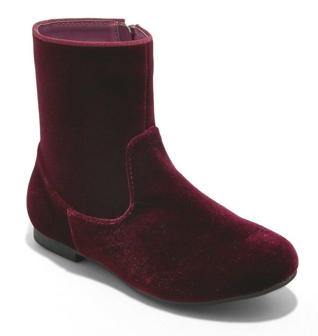 Brand New Little Girl's Art Class Paris Burgundy Red Velvet Fashion Boots NWT