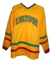 Custom Name # Lithuania Retro Hockey Jersey New Yellow Any Size image 3