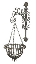 Hanging Basket Planter with Bracket Wrought Iron Metal Brown Victorian S... - $64.95