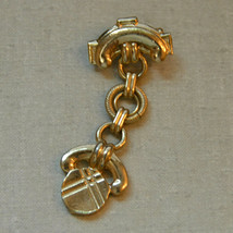 Vintage articulated moves gold tone drop dangle anchor brooch pin - $9.89