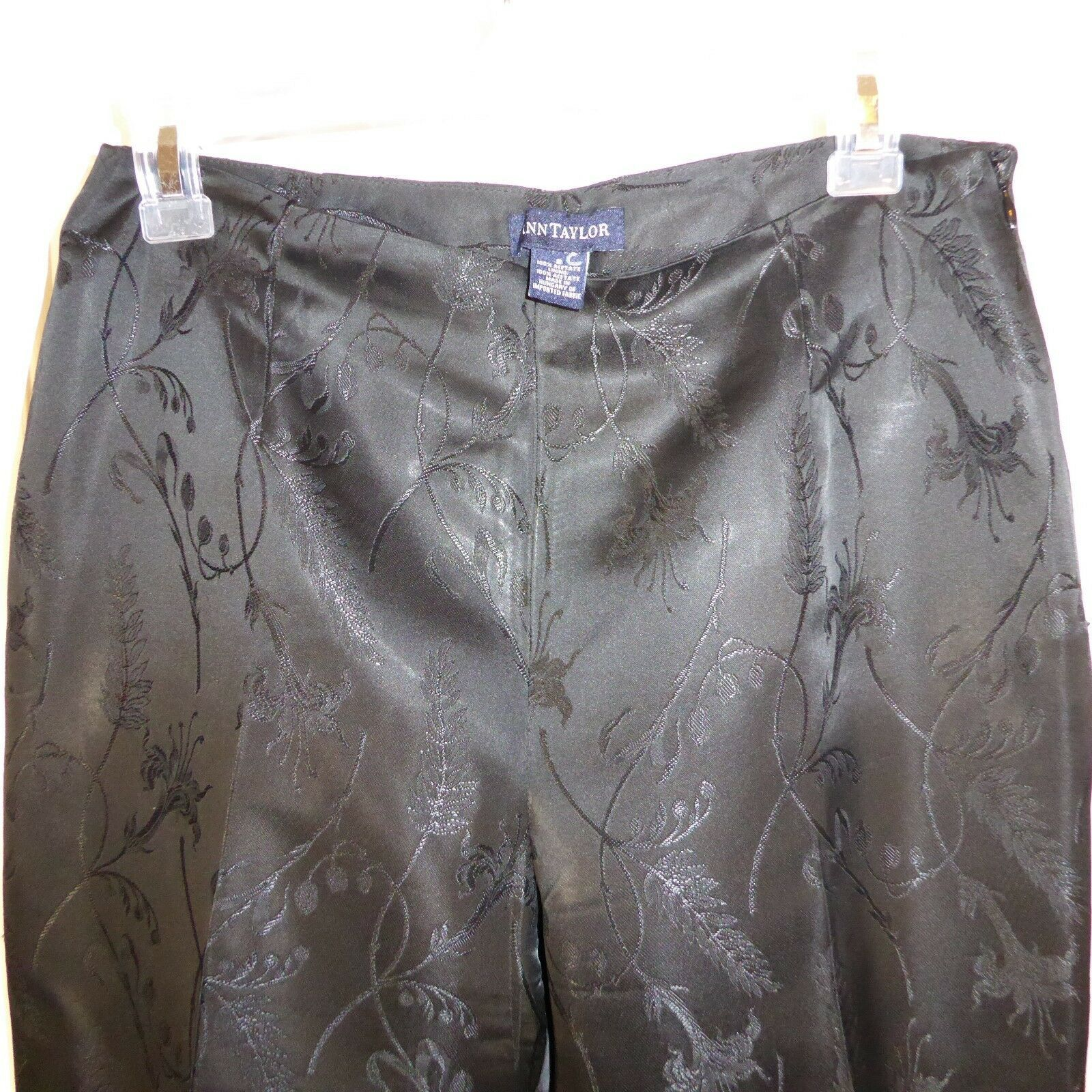 Primary image for Ann Taylor Black Acetate Classy Fully Lined FLoral Design Pants Size 8