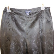 Ann Taylor Black Acetate Classy Fully Lined FLoral Design Pants Size 8 - $18.52