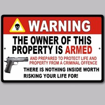 "2 Lot Gun Pistol Warning Home Business Security Sign Aluminum 8"" x 12"" New - $22.76"