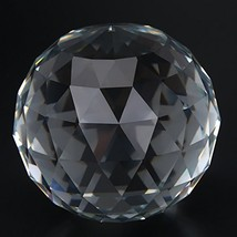 Clear Cut Crystal Glass Ball, 60/80mm Translucent Faceted Gazing Ball, Crystal S