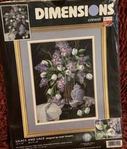 "Dimensions LILACS LACE Crewel Embroidery Kit 1529 12"" x 16"" Black Printe... - $3.76"