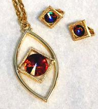 VOLCANO Rivoli Auroa Borealis Rhinestone Necklace & Clip Earrings  Vintage Set b - $24.95