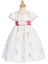 Gorgeous Boutique Pink White Embroidered Flower Girl Party Dress Lito USA - $52.99