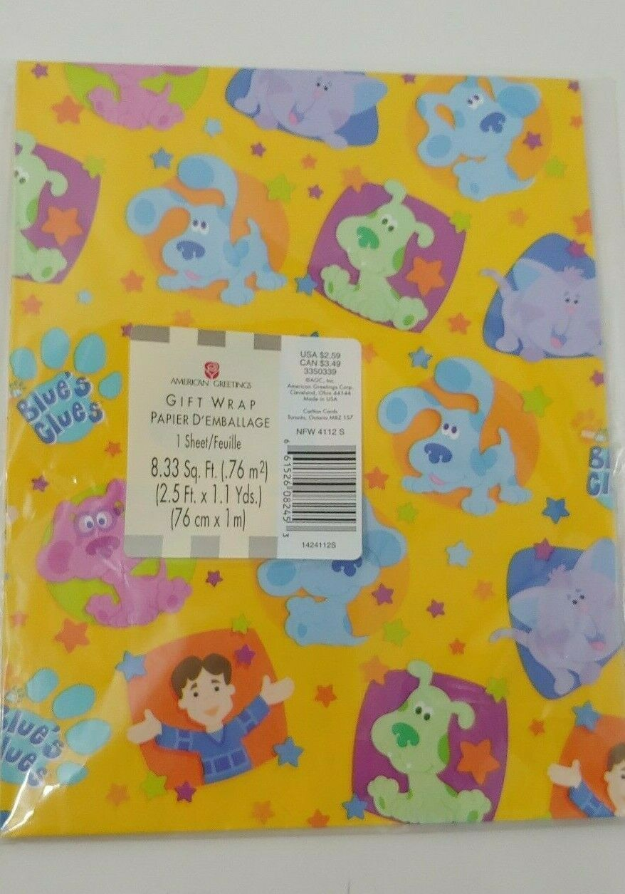 Primary image for American Greetings Blues Clues Joe one sheet gift wrap wrapping paper 8.33sq.ft