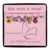 Wine Things 6-Piece Flowers & Friends Wine Charms, Painted - $26.82