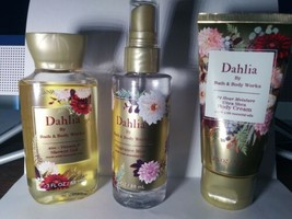 Bath & Body Works Dahlia Body Wash, body Cream and fragrance Spray Trave... - $19.99