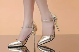 82H007 cute strappy ankle pumps, patent leather,US Size 4-8.5, gold - $42.80