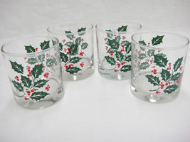 "Indiana Glass Holly Leaves Berries Set of 4 Flat 6.5 oz Tumblers 3.25"" Christmas - $15.83"